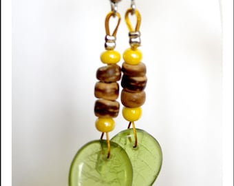 Brown coconut heishi wood earrings