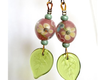 Floral earrings pink and seed beads green water