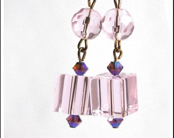 Pink glass cube earrings