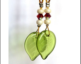 Green plant earrings