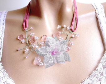 Pink Flower necklace branch beads