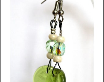 Nature earrings green/cream