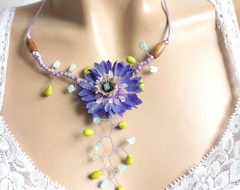 Blueberry branch Flower necklace Pearl and aquamarine colored glass chips