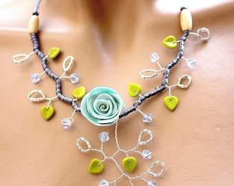 Turquoise necklace branch floral