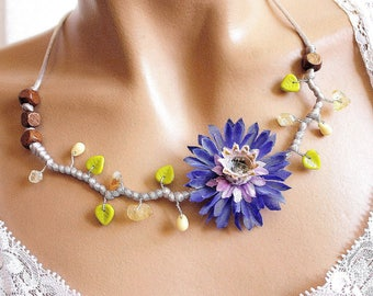 Blue branch Flower necklace Pearl and citrine chips