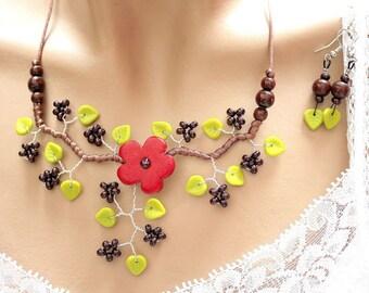 Dark red ceramic flower ornament