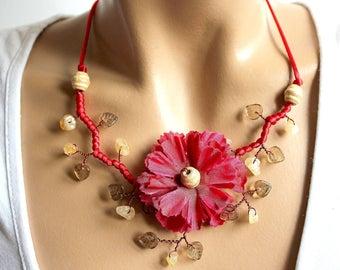 Red Garnet necklace branch