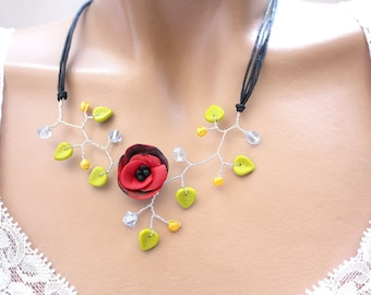 Necklace branch plant flower red and black