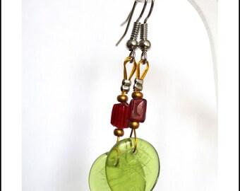 Green leaves and Red Garnet Earrings