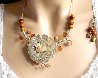 Topaz Brown faux leather Flower Adornment