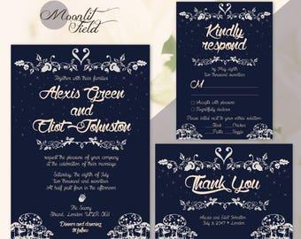Navy blue fairy tale wedding invitation | Navy blue wedding invitation | Dark blue wedding invitation | Fairytale theme cards