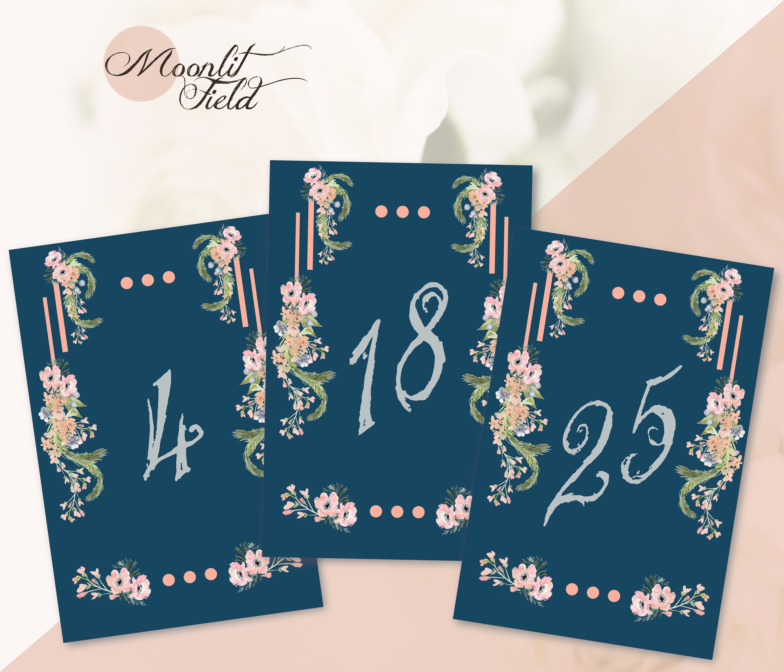 Navy Blue Peach Table Numbers Navy Blue Table Numbers Navy Etsy