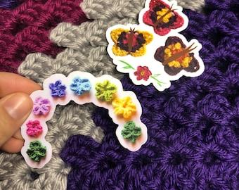 Spring sticker pack, butterfly sticker, rainbow flowers, Confirmation Gift, Planner Stickers, Crochet design, Easter basket.