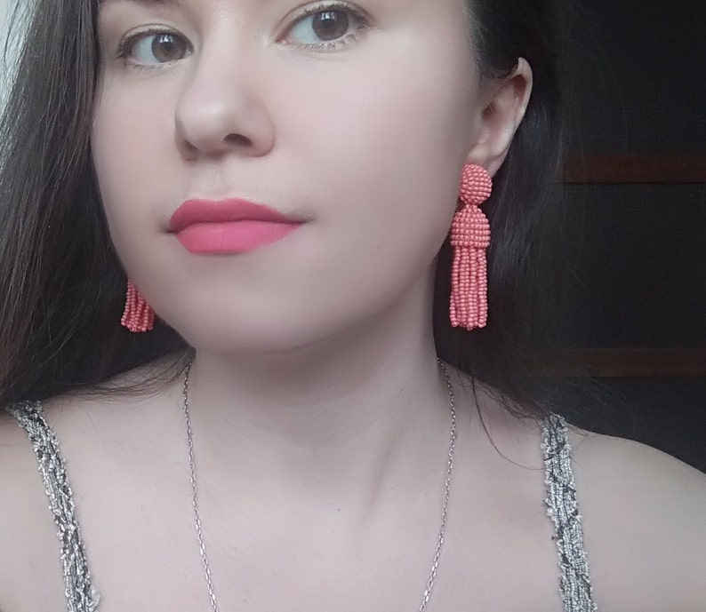 gift for her Long short coral pink Oscar de la Rent\u0430 classic clip on earrings beaded tassel clips handmade round top