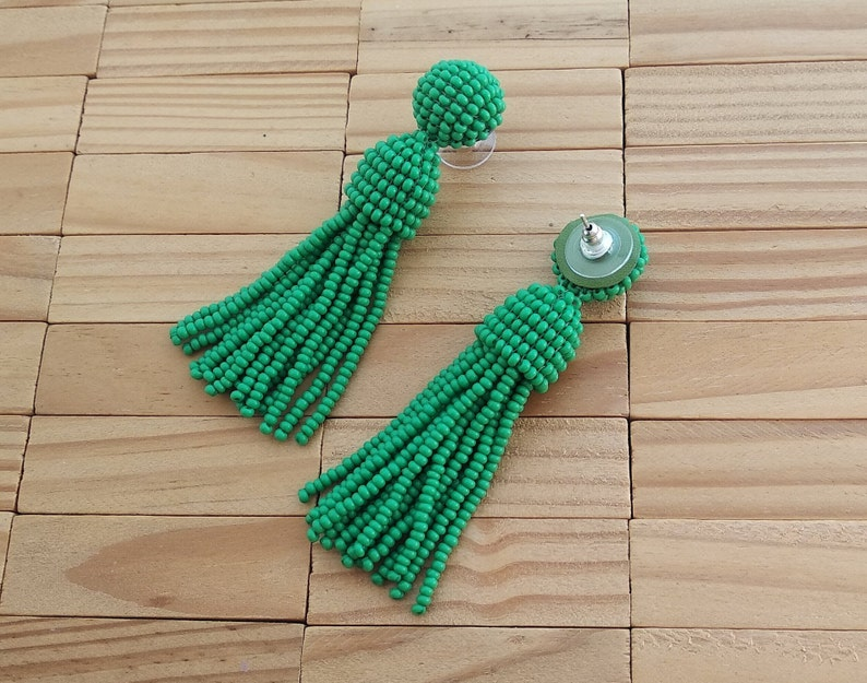 girlfriend gift for her handmade Long short green Oscar de la Rent\u0430 classic clip on earrings,beaded tassel clips,SILVER stud 925,round top