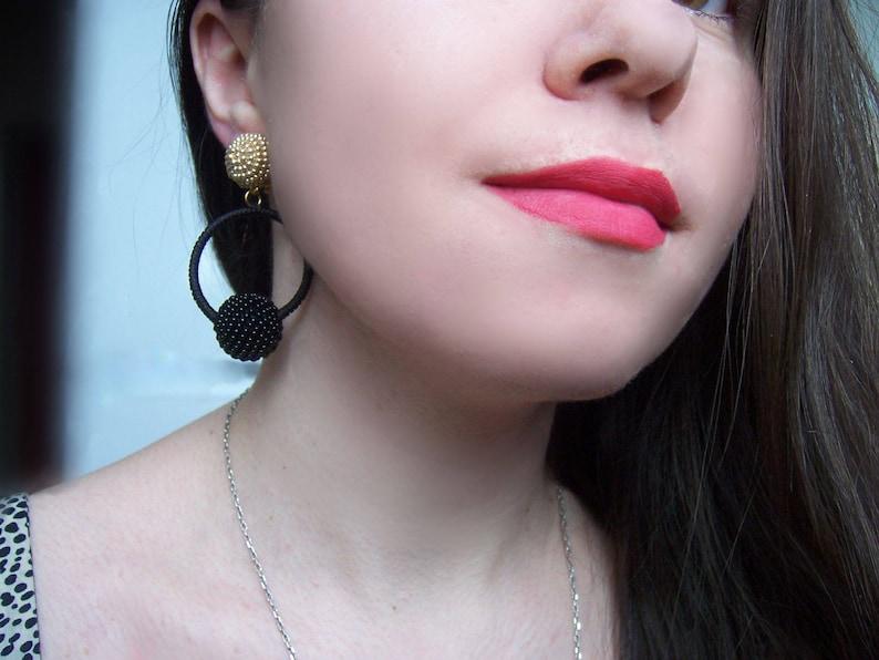 black gold Hoop La La Earrings,red blue green pink Bon Bons,white purple yellow orange hoop-drop beaded clip on earrings,
