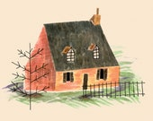 A6 Cottage Postcard, Home Postcard, Cottage Core Stationery, Cozy House