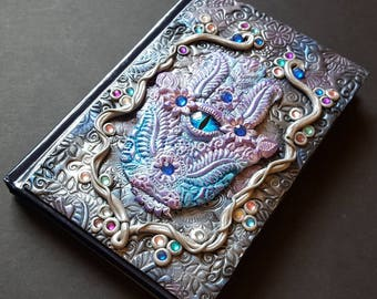 Hamsa journal cover, hand journal, Fatima notebook,polymerclay book cover,talisman,clay art, ooak,decorative,hamsa hand , bas relief.