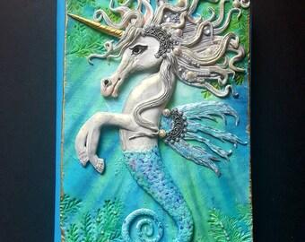 Seepferdchen, Hippocampus, Einhorn-Zeitschrift-Abdeckung, Notizbuch, Fabelwesen, Polymerclay-Buch-Cover, Fantasie, Hippocampus journal