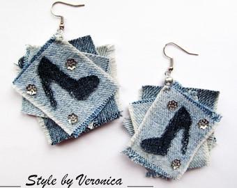 Denim jewelry Denim Earrings Jeans jewelry Geometric jeans earrings Raw edges Denim Earrings Denim Blue Denim Earrings Big denim earrings
