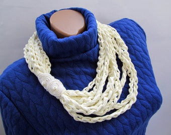 T-shirt scarf t-shirt necklace Braided scarf  Braided necklace Fabric scarf Fabric necklace summer infinity scarf Braided infinity scarf