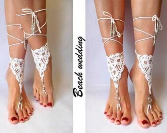 Wedding Barefoot sandals Beach wedding White Barefoot footless sandals White Bridal barefoot Beach footless Crochet barefoot Beach sandal