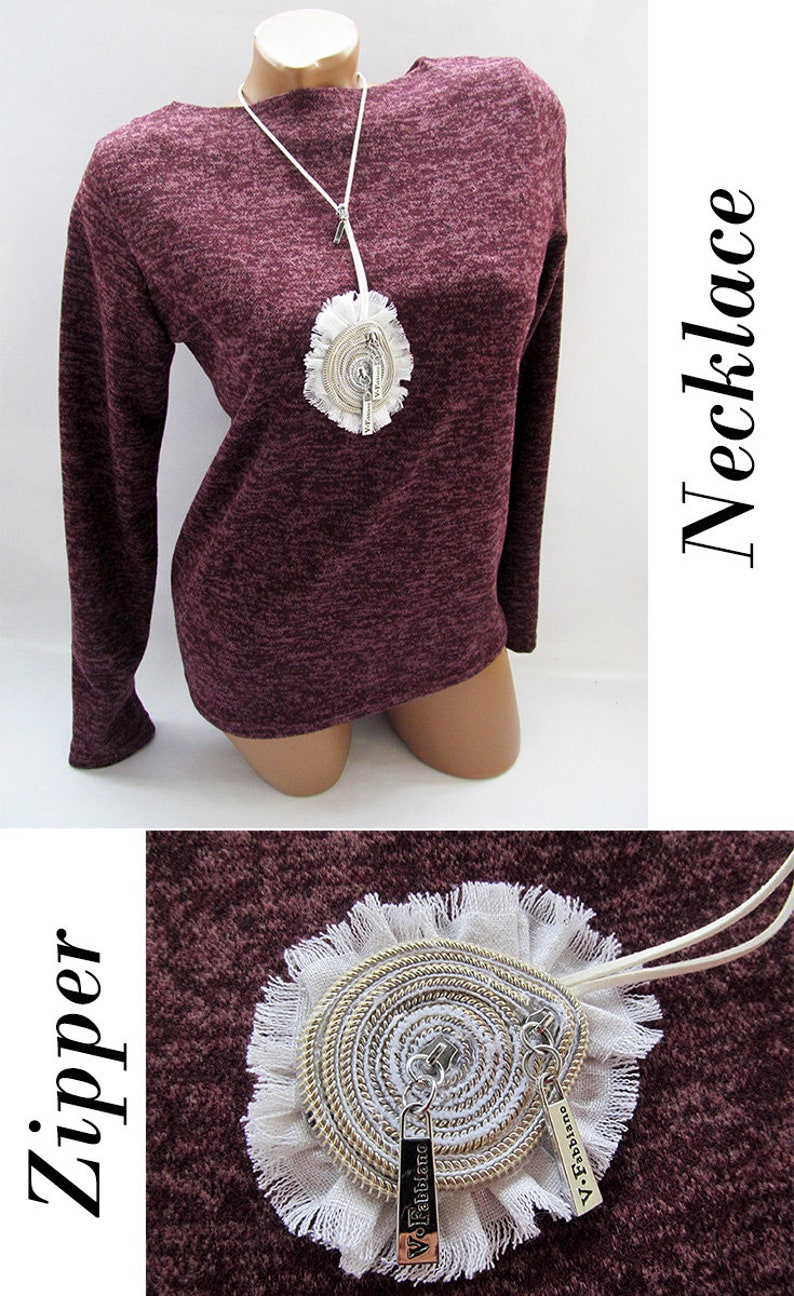 Zipper necklace Zipper jewelry Zipper accessories Suede cord jewelry Fabric jewelry suede choker Long choker