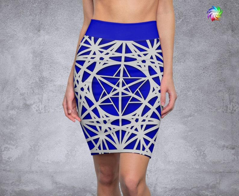 Women/'s Blue Pencil Skirt Festival Clothing