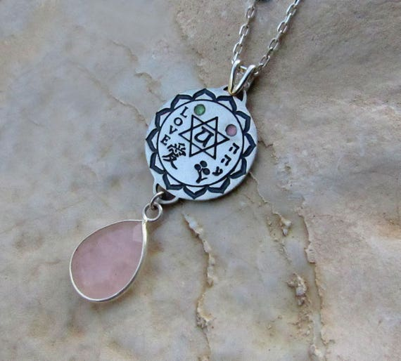 love Jewelry Inspiring Gift Ideas Rose Quartz Gemstone Heart chakra symbol  Kabbalah Chinese Charm Amulet love Necklace Valentines Day Gift