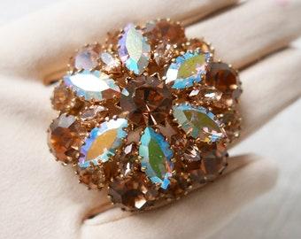 Set of 3 Vintage Crystal Brooches-Rhinestone Brooch-Antique-Filigree-Coloured-Vintage Jewelry-Crystal Brooch-unique costume jewelry