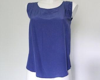 Bleu plain silk up blouse shirt-french vintage-silk tank top-women silk top-summer top-summer silk shirt women-tribal top-primitive top