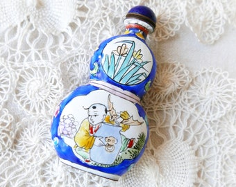 Vintage hand-painted (perfume?) bottle-vintage dressing table decor-gift for her-Chinese copper hand-painted (Snuff?) Bottle