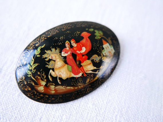 Vintage Russian Lacquer Brooch-Hand Painted-Signed