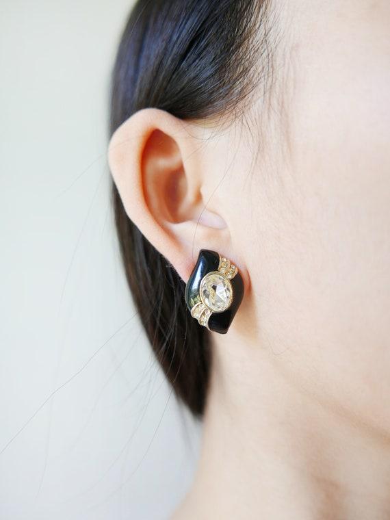 Clip Earrings Clips Earrings Black Rhinestones