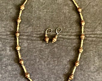 Cloisonné Necklace and Earrings