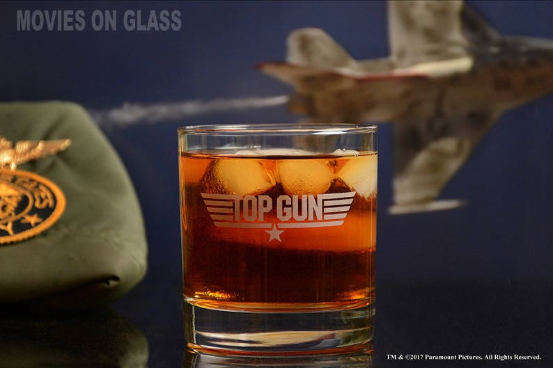 Top Gun Movie Engraved Logo Cocktail Glass, Navy Pilot, Movie Lover Gifts
