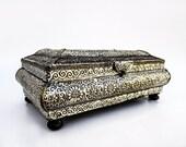 Large jewelry box Silver-Coated wood box Keepsake box silver trinket box Moroccan box Juwelendoos schmuckkästchen boîte à bijoux