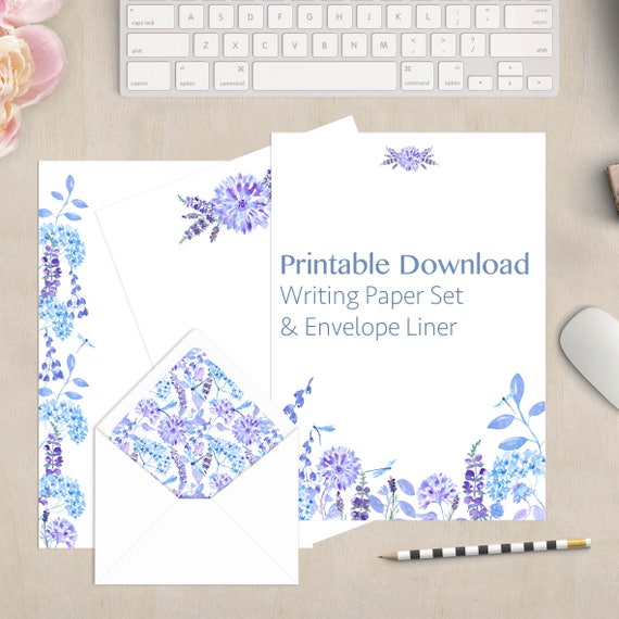 Printable Snail Mail Letter Lined Letter Paper Envelope Liner Instant Download PDF Dragonfly Writing Paper Stationery A4 Flowers