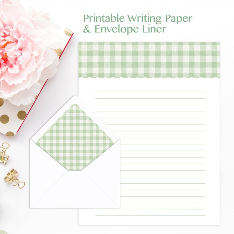 picture about A4 Printable Paper known as A4, Letter, Composing, Printable, Covered Paper, Stationery, Eco-friendly Gingham, Electronic Stationary, US Letter, Instantaneous Obtain, Linen Texture