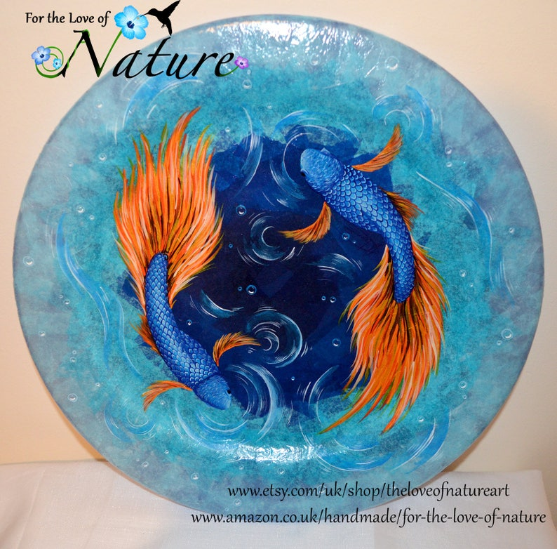 995ca22f04727 Glass Decorative Plate, Hand Painted, Japanese Fish Painting, Swirling Fish  Pond Design, Decorative Artwork Ornament, Blue Glass Plate