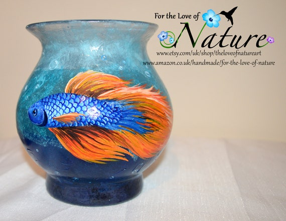 Hand Painted Glass Blue Glass Vase Japanese Fighting Fish Etsy