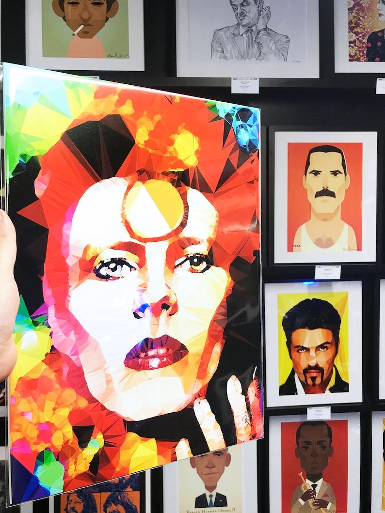 Gold by Baiba Auria Signed fine art print Bowie Thin white duke, pop art, digital art, ziggy stardust, 80s, 90s