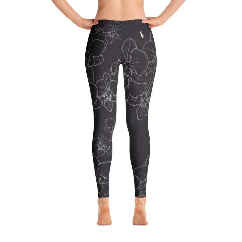87cebd7e11496 Orchid Leggings Yoga Leggings Black Floral Leggings yoga   Etsy
