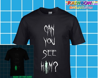 Adult Premium CottonCan You See Him  Inspired by Slender Man T Shirt - Glow  in the Dark Slenderman Movie - Adult Premium Cotton 9fb058a882