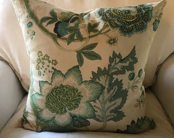 Vintage Linen Fabric Pillow Cover - 18 inch square