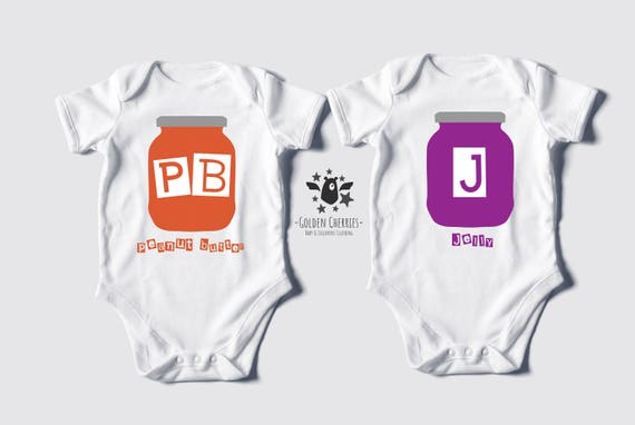 Peanut Butter Jelly Twins One Pieces   Bodysuits   Rompers    5df536958