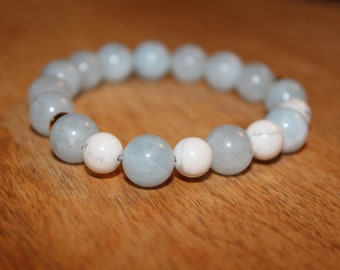 Aquamarine and Howlite Meditation Bracelet with Brass Accents
