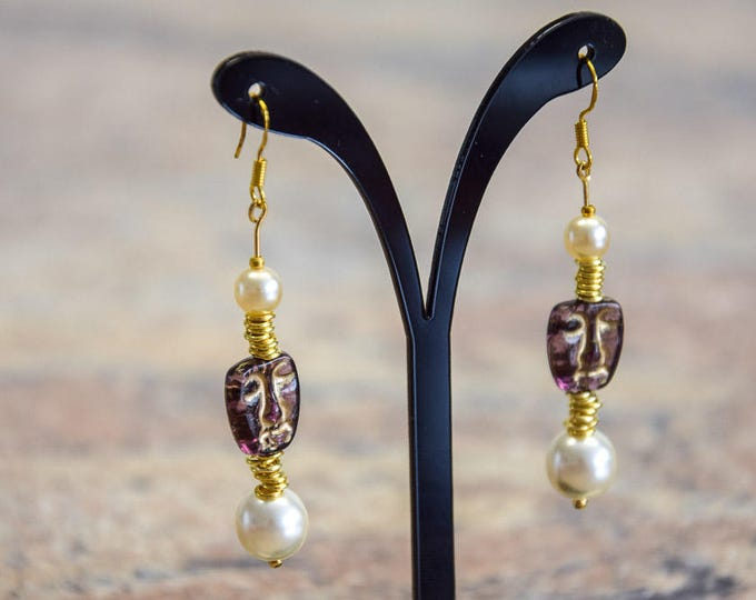 Exclusive hanging earrings 22k gold gold gold gold gold plated with freshwater beads, design Africa style, for women women girls, gift leisure business