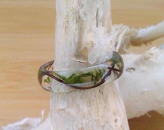 Natur Ring aus echtem Holz und Moos