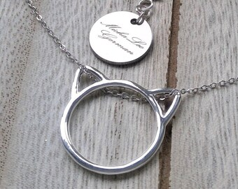 925 Sterling Silver Necklace with Cat Pendant, beautiful Animal Motif, trend, very modern, girl necklace, silver chain, Link Necklace, Gift